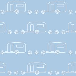 retro icons  caravan icy pole white on gingham blue