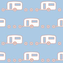 retro icons  caravan peach skin and icy pole white on gingham blue