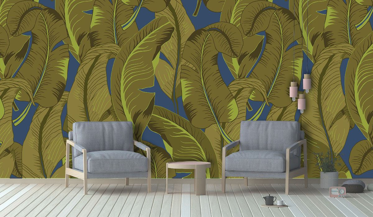 tropical banana jungle mural deep sea