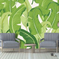 tropical banana jungle mural green light