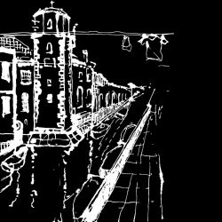 city lines murals castello venezia white on black