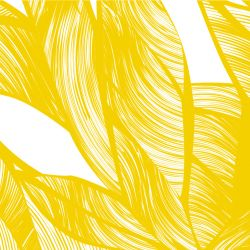 fronds silhouette intertwined mustard white detail