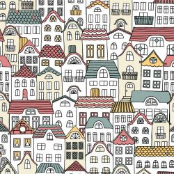 cities houses multi colour allover details
