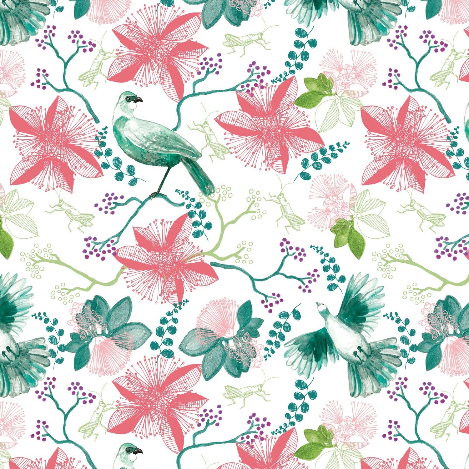 bushland blooms floral dove green
