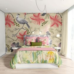 bushland blooms concept bedroom upholstery and wallpaper