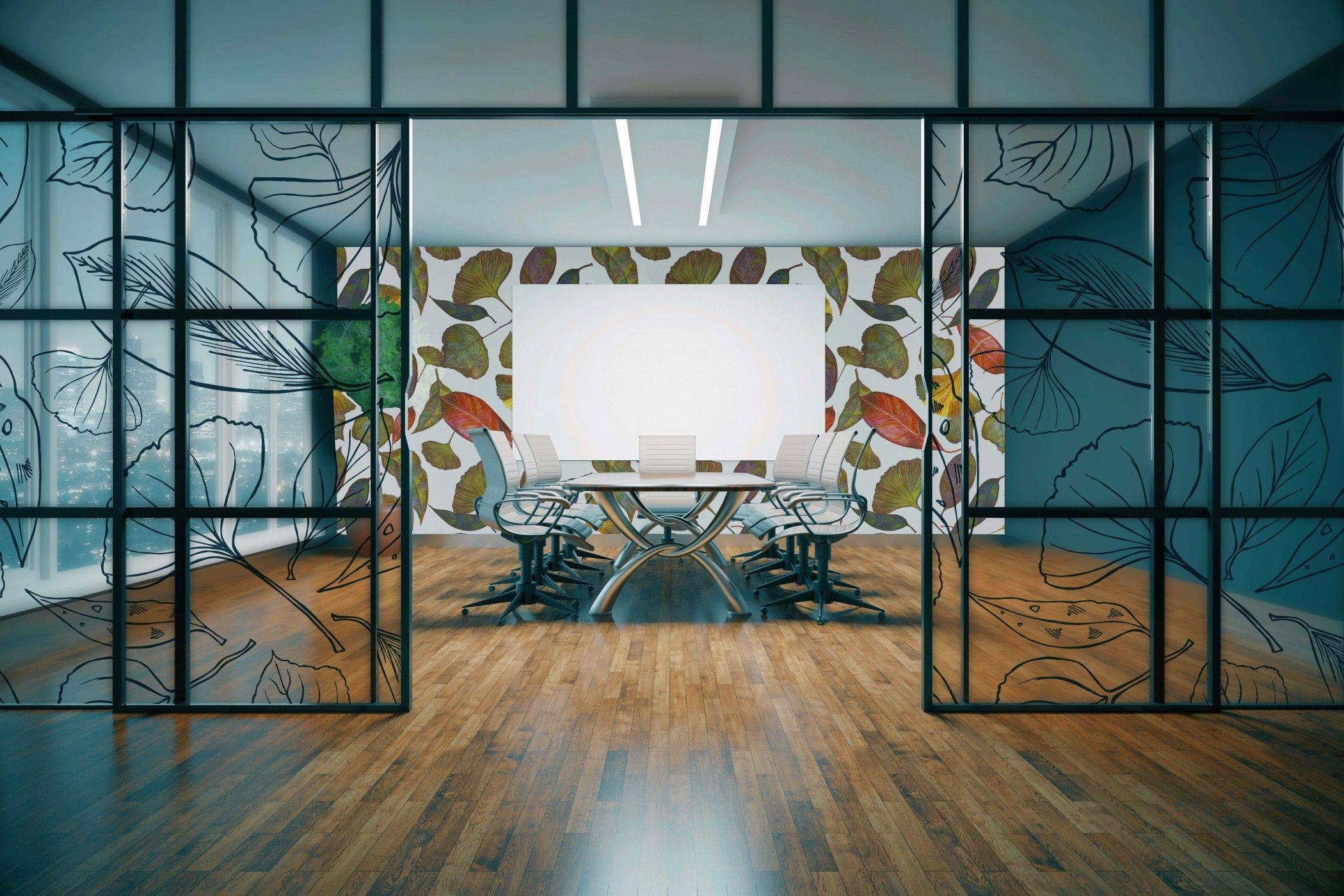 bushland blooms concept office glazing and wallpaper