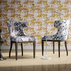 artisanal concept wallpaper and chair upholstery