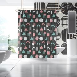 geometric graphics concept wallpaper and shower curtain