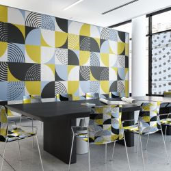 geometric graphics concept wallpaper glazing and upholstery