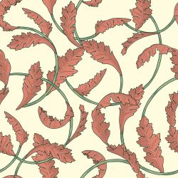 woodblock florals baroque leaf original