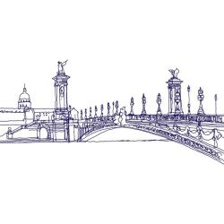 city lines mural river seine violet white