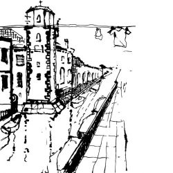 city lines murals castello venezia black on white