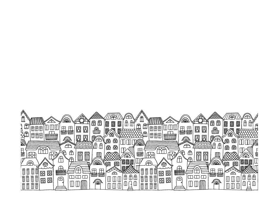hand drawn cities houses border