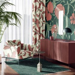 woodblock florals curtain wallpaper armchair