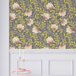 woodblock florals concept wallpaper