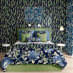 woodblock florals concept wallpaper bedspread curtain