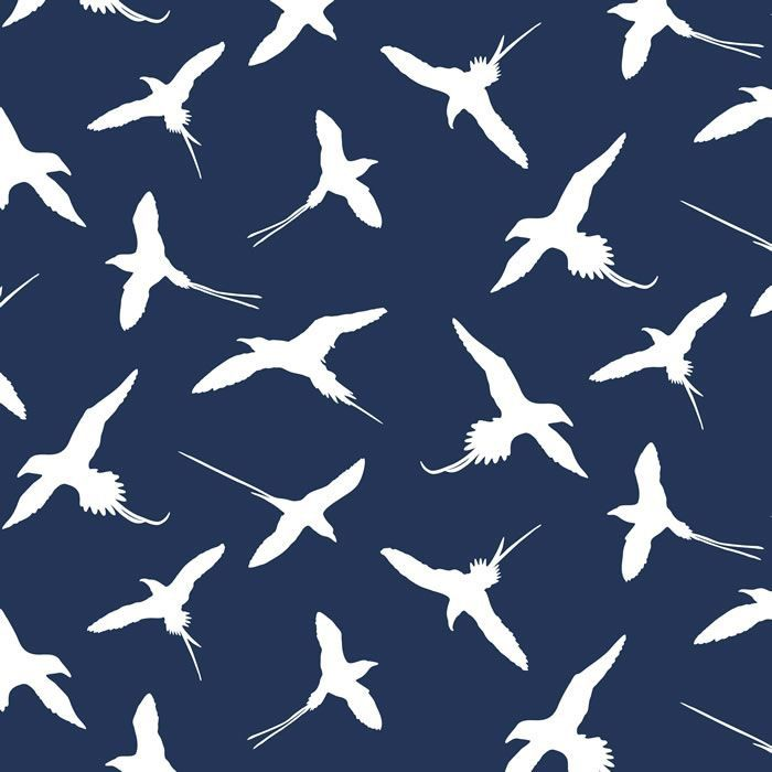 pacific sea birds navy blue ground