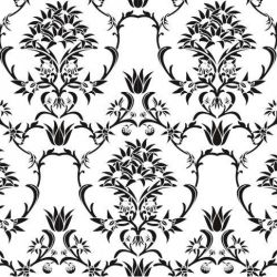 moore moore flannel flower damask black on white