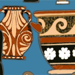 porcelain greek urns detail