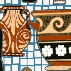 porcelain greek urns on mosaic detail