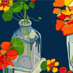 porcelain nasturtium study in glass jars detail