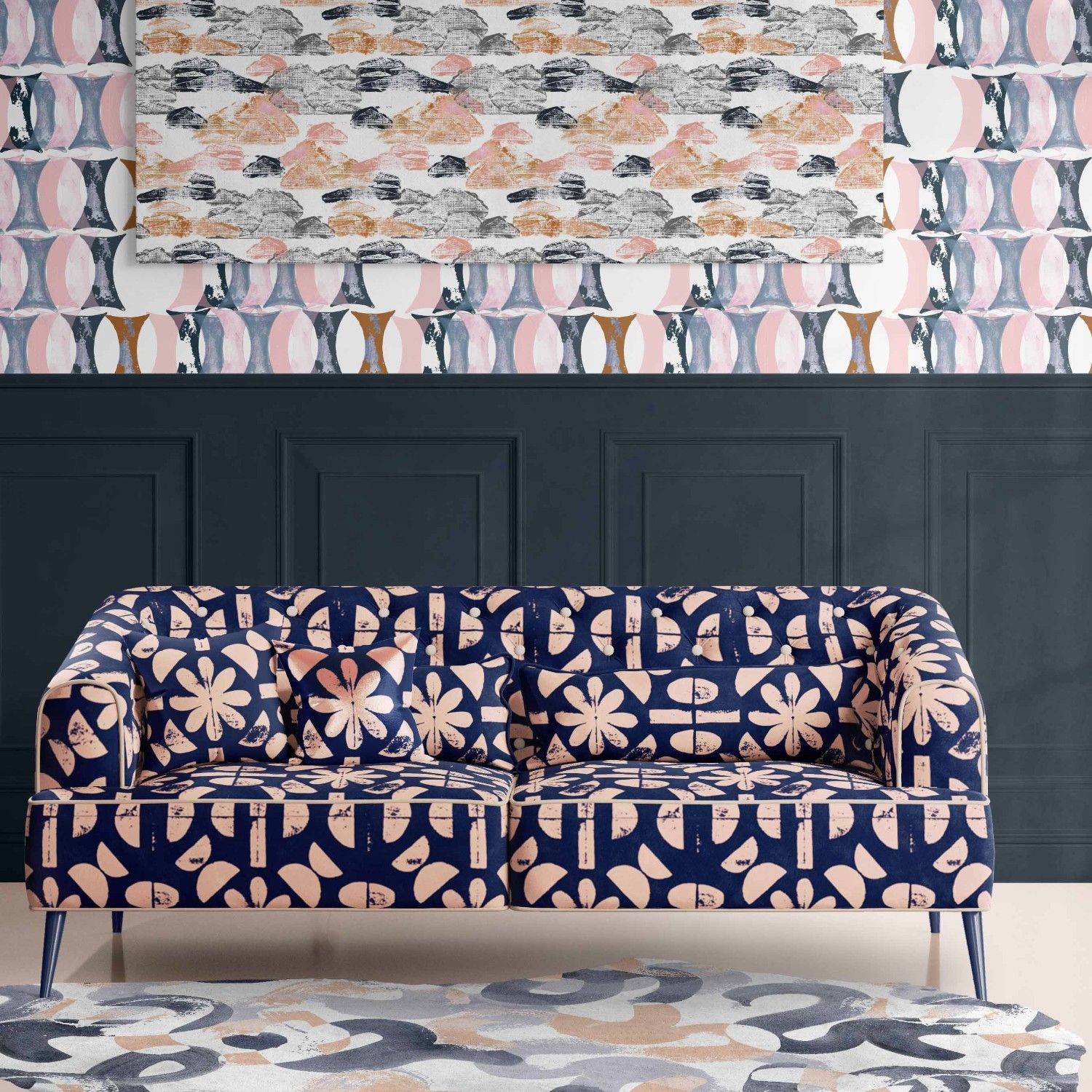 artisanal concept rug couch wallpaper artwork