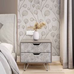 botanical waves concept bedside table wallpaper