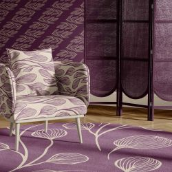 botanical waves concept wallpaper armchair upholstery rug
