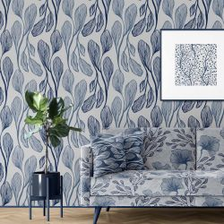 botanical waves concept wallpaper upholstery artwork
