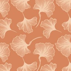 botanical waves ginko leaf sunset peach