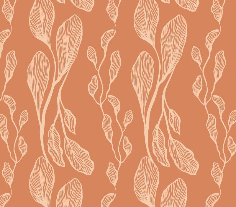 botanical waves sketched vine leaf sunset peach