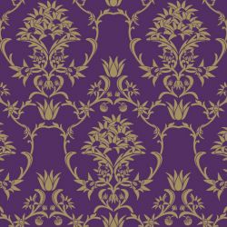 moore moore flannel damask flower gold purple