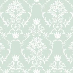 moore moore flannel flower damask white on sage