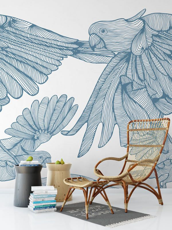 opening lines murals plumage flight powder blue